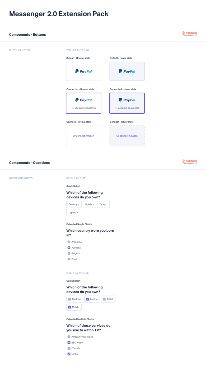 Pollpass UI Kit Components - Messenger