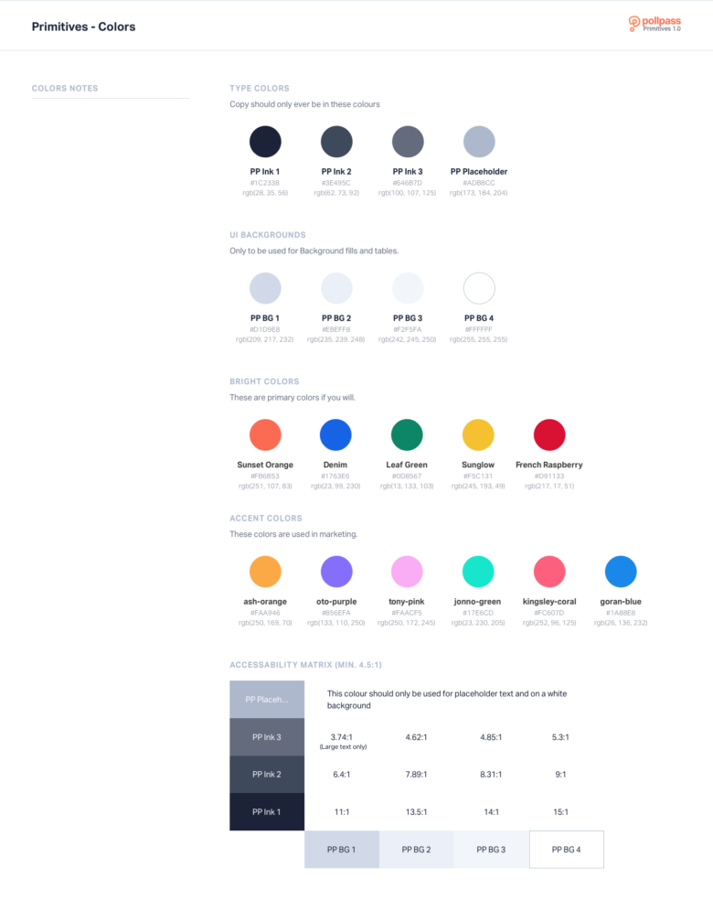 Pollpass Global UI Kit - Colors